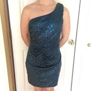 Dark teal sequined, one shoulder dress